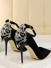 Black Point Toe Stiletto Rhinestone Fashion High-Heeled Shoes