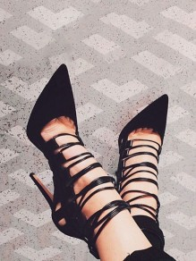 Black Point Toe Stiletto Cut-out Gladiator Cross Strap Fashion High-Heeled Shoes