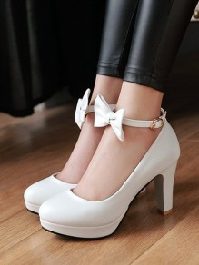 White Round Toe Chunky Bow Buckle Fashion High-Heeled Shoes