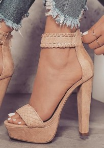 Beige Round Toe Chunky Suede Fashion High-Heeled Sandals