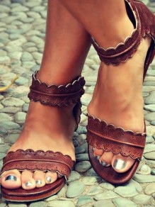Brown Round Toe Flat PU Leather Buckle Roman Ankle Sandals