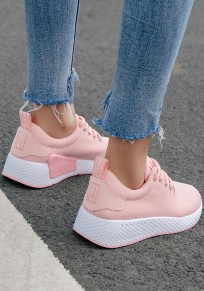 Pink Round Toe Flat Cross Strap Casual Heavy-Soled Shoes