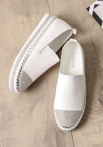 White Round Toe Flat Rhinestone Casual Heavy-Soled Shoes