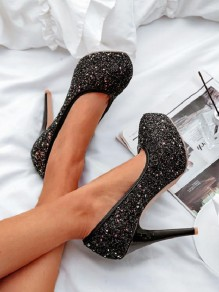 Black Round Toe Sequin Stiletto Fashion High-Heeled Shoes