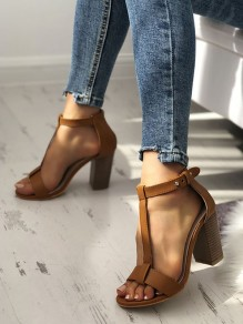 Brown Round Toe Chunky Cut Out Fashion High-Heeled Sandals