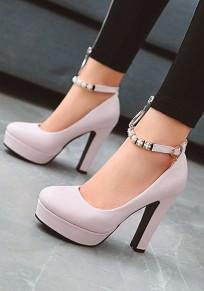 Zapatos puntera redonda decoración de metal fornido de tacón alto rosa