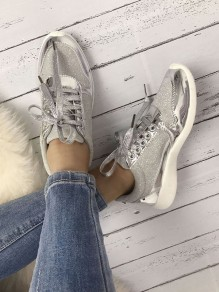 Silver Round Toe Lace-up Fashion Ankle Shoes