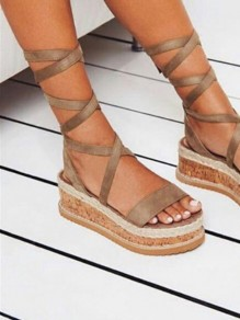 Camel Round Toe Flat Cross Strap Casual Heavy-Soled Sandals