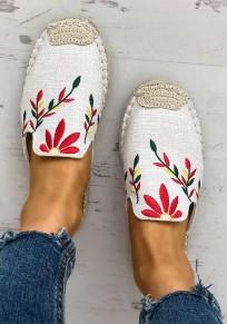 Sandalias punta redonda tobillo casuales bordado blanco