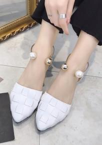Sandales bout à bout trapu perle de mode cheville blanc