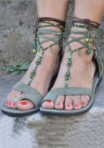 Green Round Toe Flat Tassel Fashion Ankle Sandals