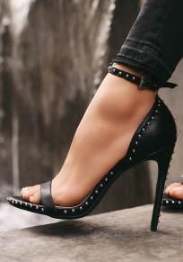 Sandalias punta redonda remache tacón alto negro