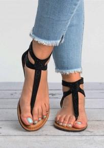 Sandalias moda redonda del dedo del pie plano diamante de imitación negro