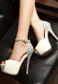 Sandalias punta redonda punta de lentejuelas de moda de tacón alto blanco