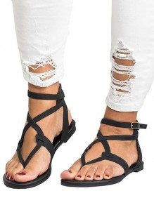 Black Round Toe Flat Cut Out Buckle Fashion Ankle Sandals