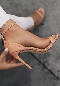 Sandales bout rond coiffert river mode à talons hauts abricot