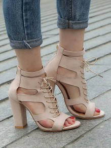 Apricot Round Toe Chunky Cut-out Fashion High-Heeled Sandals