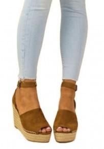 Sandalias cuñas de punta redonda hebilla de moda de tacón alto camello