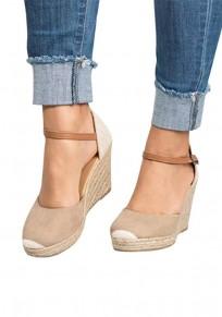 Sandales espadrille talon compensé bout rond mode femme chaussures abricot