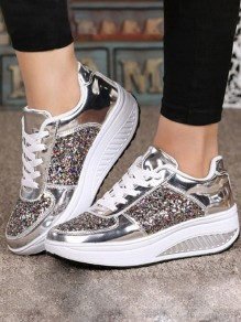 Silver Round Toe Flat Sequin Fashion Heavy-Soled Shoes