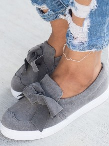 Grey Round Toe Flat Bow Fashion Shoes