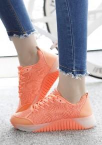 Zapatos tobillo casuales con cordones redondeados naranja