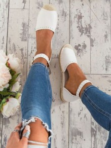White Round Toe Rivet Casual Ankle Shoes