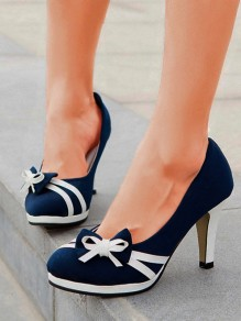 Blue Round Toe Chunky Bow Sweet High-Heeled Shoes