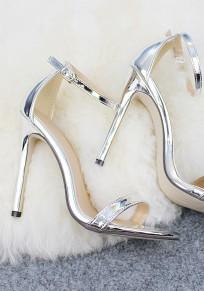 Sandalias punta redonda hebilla de aguja moda tacón alto plata