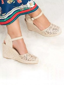 Beige Round Toe Lace Wedges Casual High-Heeled Sandals
