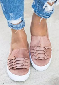 Pink Round Toe Flat Casual Ankle Shoes