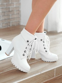 White Round Toe Chunky Rivet Lace Up Fashion High-Heeled Ankle Boots