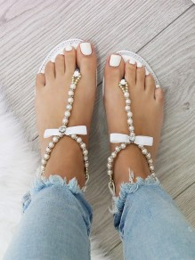 Apricot Round Toe Flat Flip Flops Rhinestone Bow Pearl Fashion Ankle Sandals