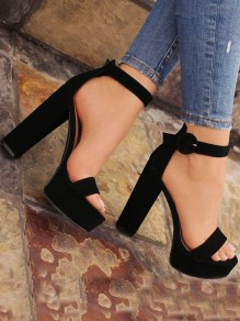 Black Round Toe Chunky Fashion High-Heeled Sandals