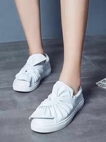 White Round Toe Flat Bow Fashion Ankle Shoes