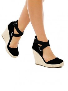Schwarze runde Kappe Wedges Flickwerk Mode High-Heel Sandaletten