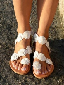 White Flower Round Toe Flat Casual Beach Wedding Boho Ankle Sweet Sandals