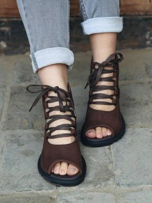 Brown Round Toe Lace-up Zipper Casual Ankle Sandals