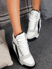 White Round Toe Flat Rivet Cross Strap Fashion Ankle Shoes