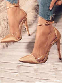 Golden Point Toe Stiletto Patchwork Clear Ankle Buckle Fashion High-Heeled Shoes