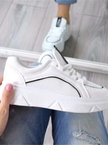 Chaussures bout rond mode plat cheville blanc