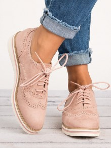 Chaussures bout rond mode plat cheville rose