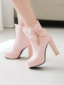 Bottes bout rond strass noeud papillon mode cheville rose