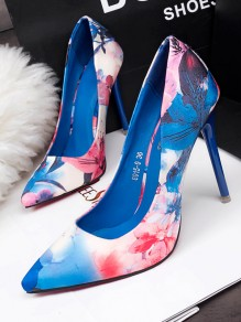Blue Point Toe Stiletto Print Fashion High-Heeled Shoes