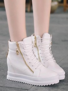 White Round Toe Zipper Lace-up Casual Ankle Shoes