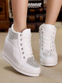 White Round Flat Rhinestone Within The Higher Fashion Shoes