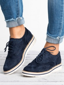 Blue Round Toe Fashion Ankle Shoes
