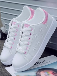 Chaussures bout rond chaussures à lacets cheville rose