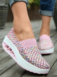 Chaussures bout rond mode cheville rose