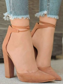 Apricot Point Toe Chunky Fashion High-Heeled Shoes